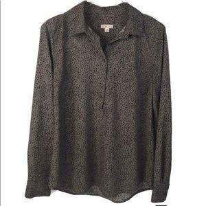 Target Merona Cheetah Popover Collar Shirt Large